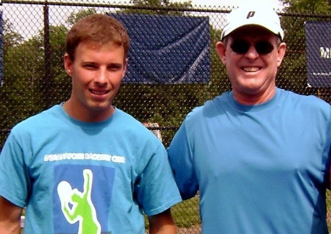 Gareth with Des - Gareth won State tennis titles with Carmel High School in 2004/2005.