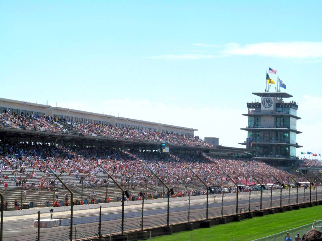 The pagoda behind the main strait at the Indy 500