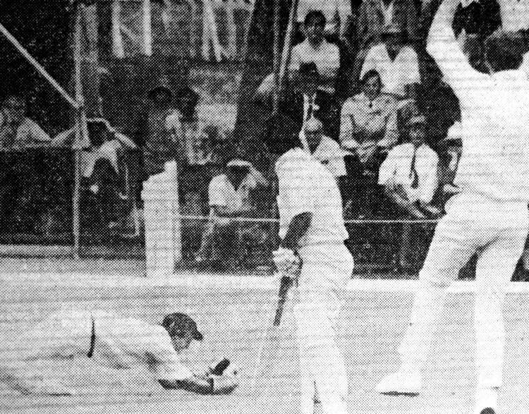 Des catches an inside edge from Ali Bacher (Transvaal) with the late Paddy Clift appealing