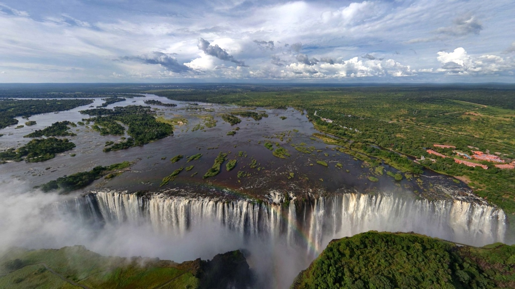 The majestic Victoria Falls on the Zambesi River - between Zimbabwe and Zambia