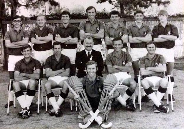 Des in his field hockey playing days is at the back on the right