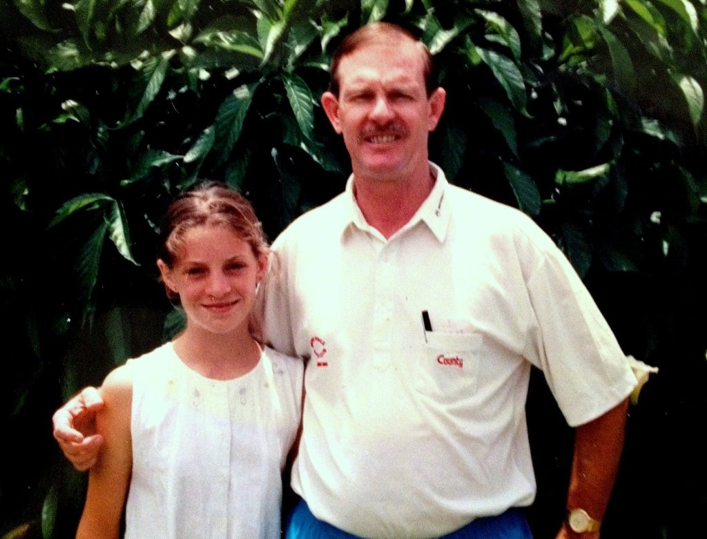 Young Nicola with her Dad at our home!