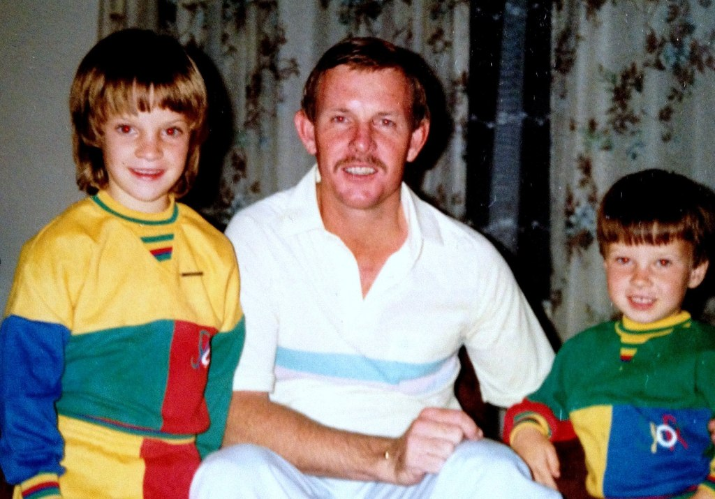 Des with young Nicola and Gareth at our home in Harare