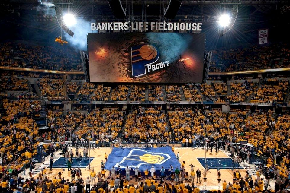Passionate basketball fans at an Indiana Pacers game at home