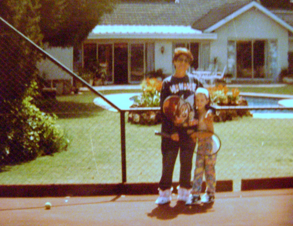 Young Stacey with Brenda on our court in Harare