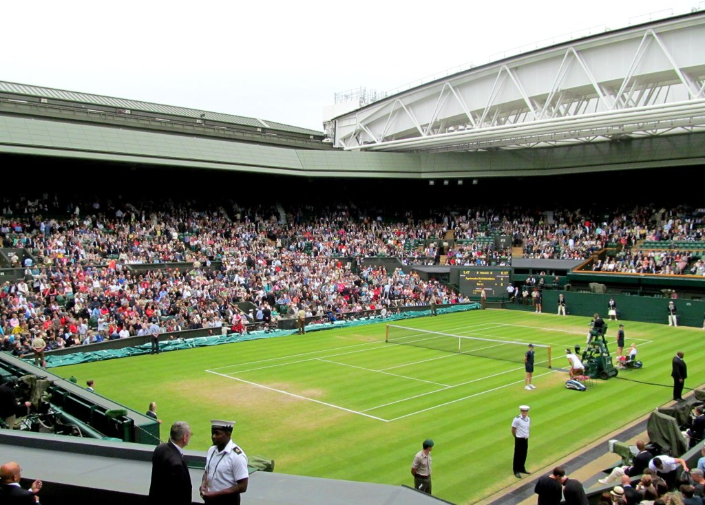 The hallowed Centre Court at Wimbledon with the retractable roof