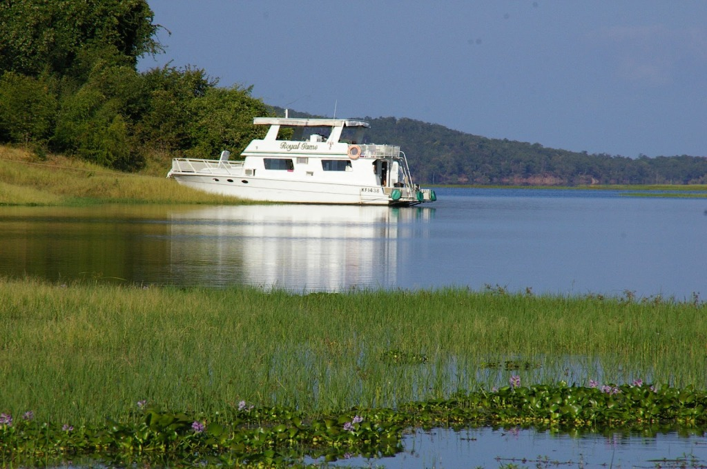 House boats are popular on Lake Kariba for fishing and game viewing